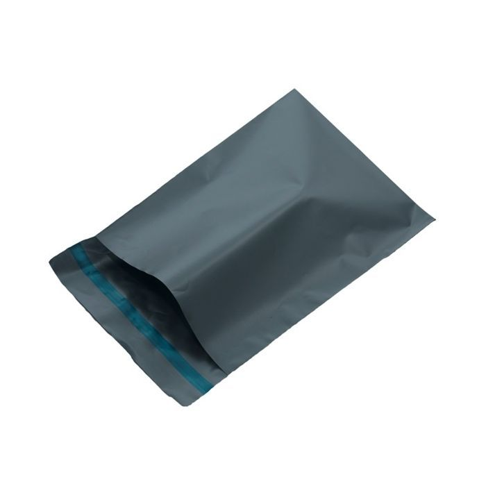 200 Grey plastic courier bags, ideal for shoes boxes etc. large Size 400mm x 525mm.