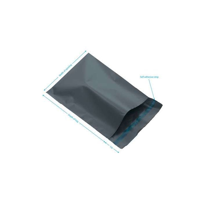 150 Grey plastic medium size courier bags, heavy duty large Size 400mm x 525mm,