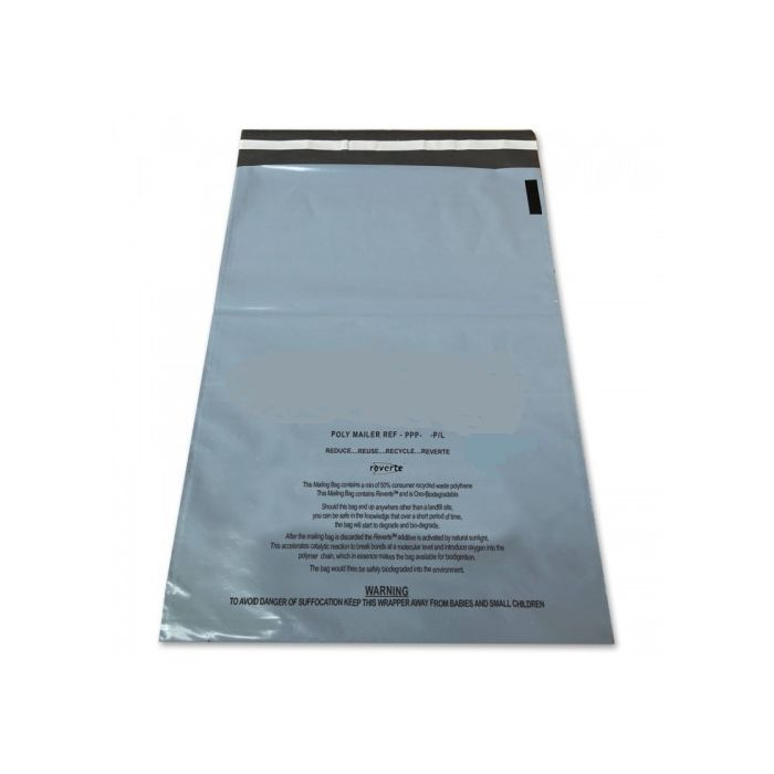 100 Bio degradable Grey mailers, Fully Recyclable, size 400mm x 525mm or 15.75 x 21 inches.