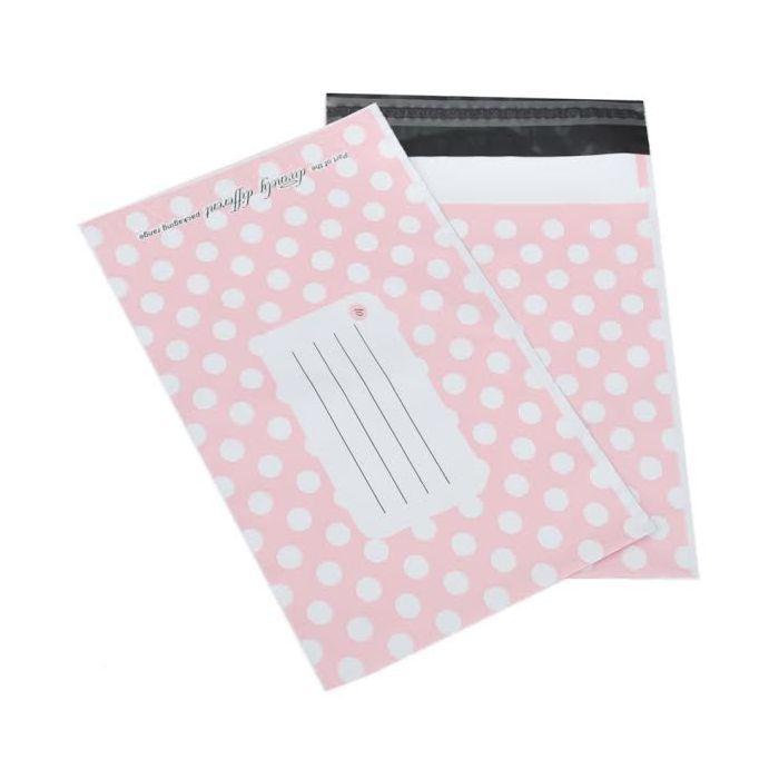 200 A4 Pink plastic Polka Dot mailer envelope, size 250mm x 350mm 10