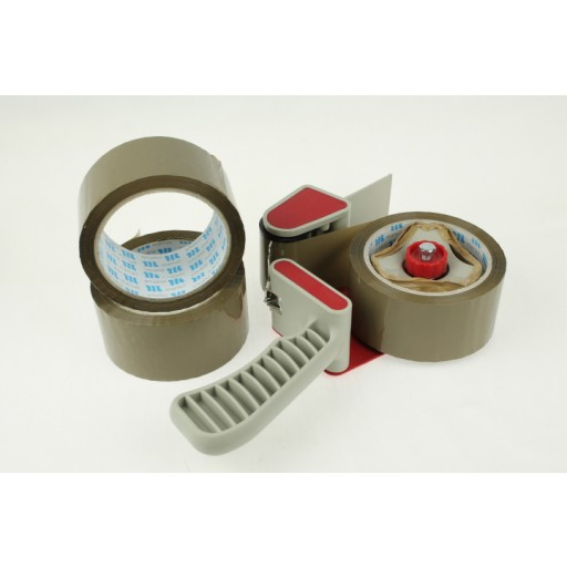 Parcel sealing tape in brown and Clear